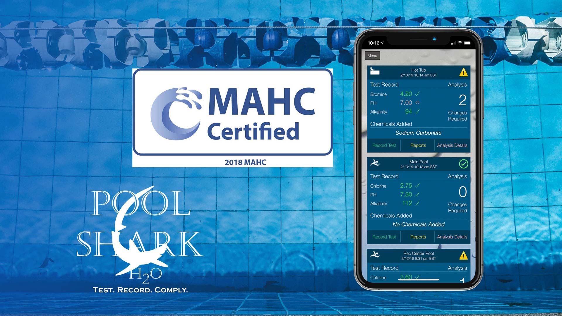 Pool Shark H2O - Council For Model Aquatic Health Code Certified